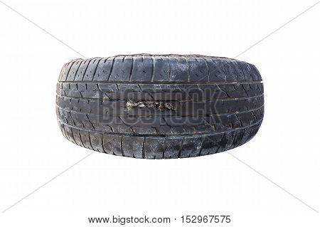 Broken tire damaged on tire surface which isolated on white background