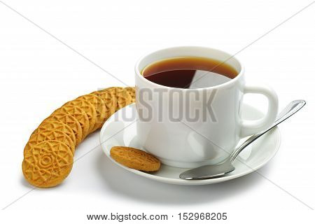 Cup of tea and cookies on a white background
