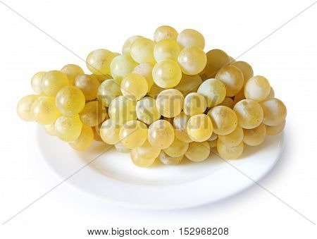 Ripe grapes in a plate on white