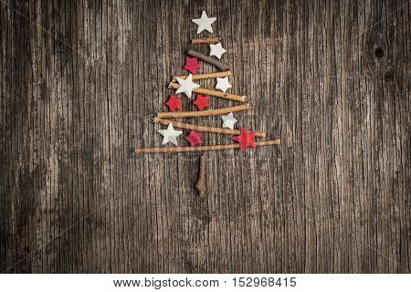 Christmas Decoration In Shape Of Christmas Tree Made Of Branches