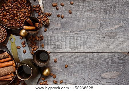 Wooden Background With Turkish Coffe