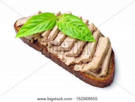 Pate with bread on ф white background