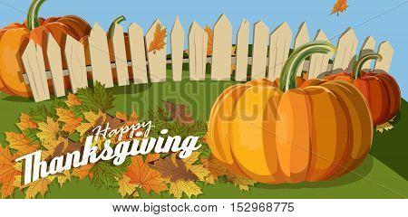 Flat design style. Happy Thanksgiving Day. Autumn illustration