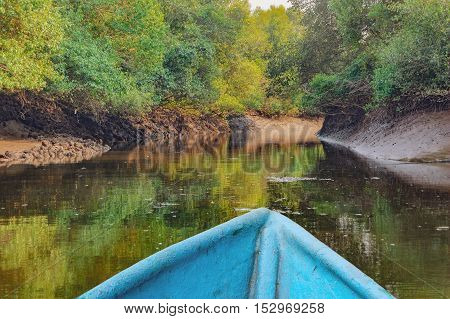 Boat trip in mangrove tunnels in Salim Ali Bird Sanctuary Goa India. Reflection of the jungle in the water channels