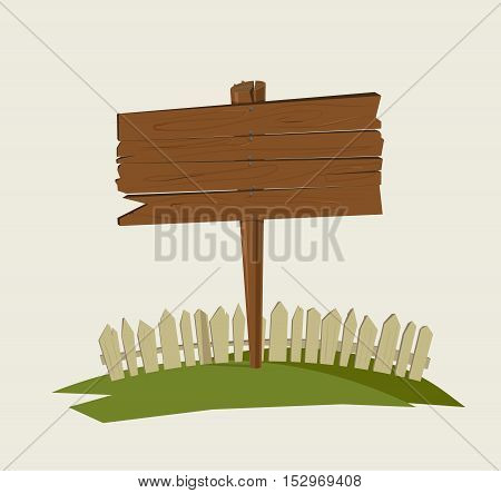 Wooden village sign. Vector illustration. Nature object. Background