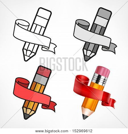 Different Style Pencils & Ribbon