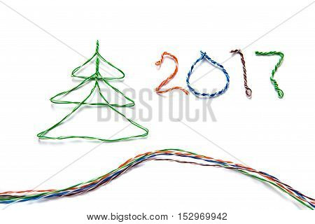 Christmas tree and number 2017 made from cables of Twisted pair RJ45 for Lan network. Concept of New Year Christmas internet connection communication