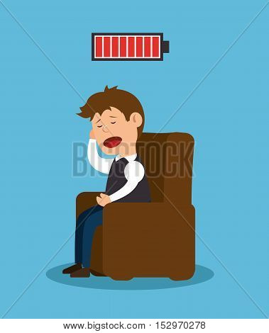 man sitting stress problem mental icon vector illustration eps 10