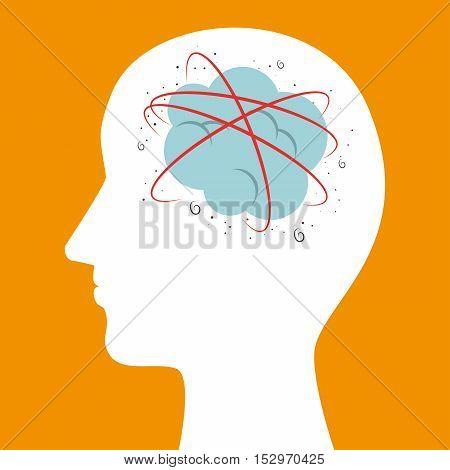 silhouette head brainstorm mind icon vector illustration eps 10