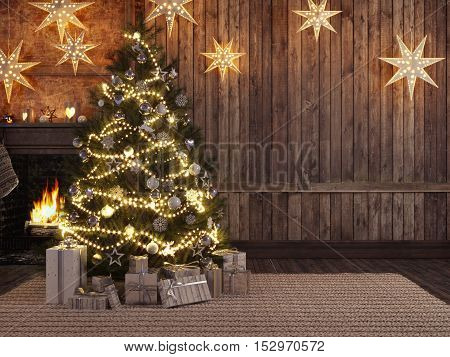 3d rendering. Christmas stocking on fireplace background