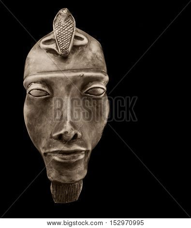 egyptian pharaoh mask black and white photo with free space for text