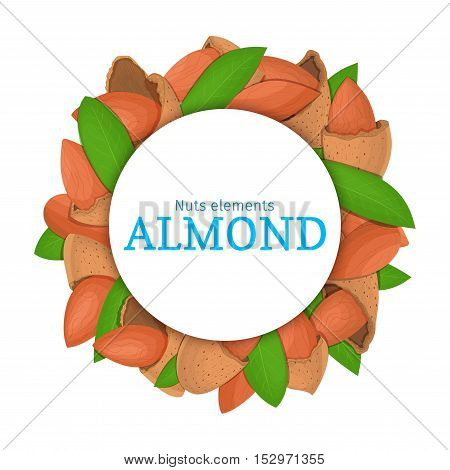 Round colored frame composed of almond nut. Vector card illustration. Circle nuts frame, almonds fruit in the shell, whole, shelled, leaves appetizing looking for packaging design of healthy food