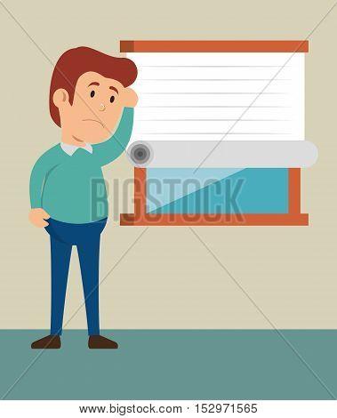 cartoon guy thinking stress problem vector illustration eps 10