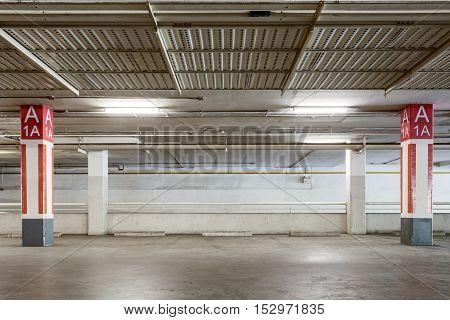 Parking garage interior industrial building Empty underground parking