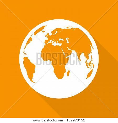 Planet Earth icon in flat design. Planet Earth with long shadow on a orange background. Vector illustration.