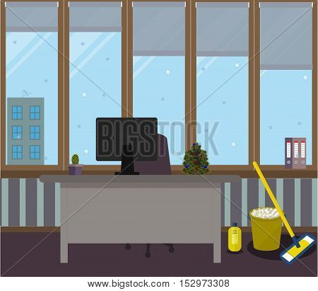 Cleaning in the New Year office on a purple background. Vector illustration. Table, chair, folders, cactus in a pot, large Windows, protective blinds, Christmas tree with red and blue balls, MOP