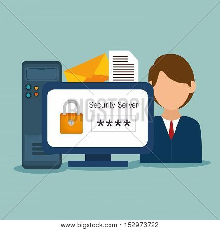 character padlock computer file email vector illustration eps 10