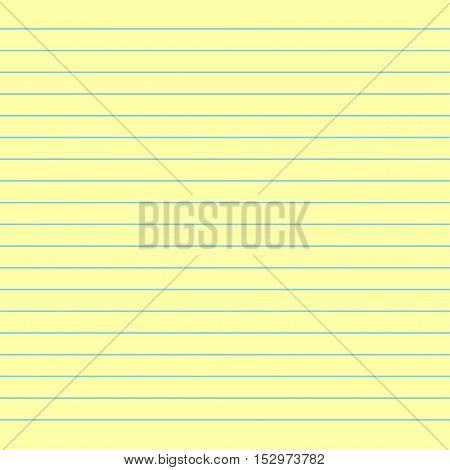 School notebook paper. Yellow lined paper. Paper background. Vector illustration