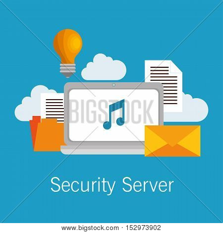security server computer cloud documents idea vector illustration eps 10