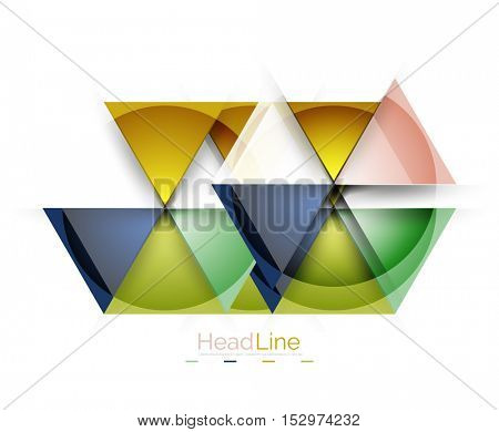 Glossy glass modern triangle layout. Vector background
