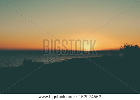 Great sunset at sea. Beautiful sunset on the island of Cyprus