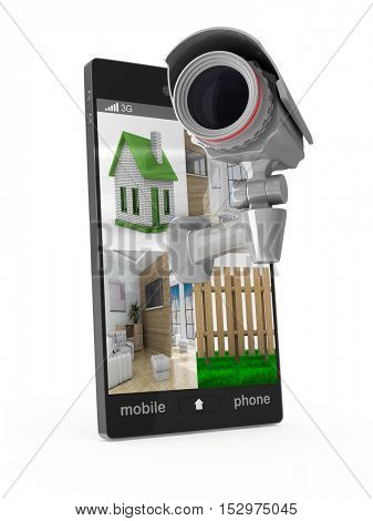 phone with camera on white background. Isolated 3D image