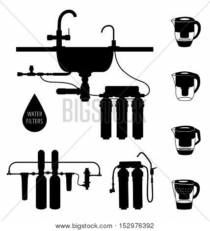 Water cleaning filter silhouette set. Vector illustration isolated on white.