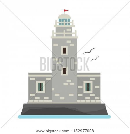 Vector cartoon flat lighthouses.
