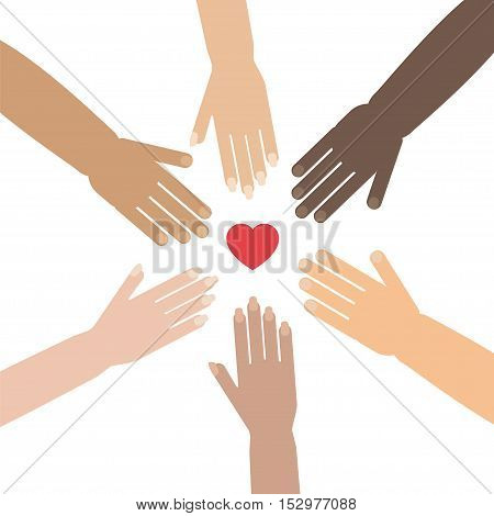 Volunteer concept with hands of different skin tones forming a circle around heart shape. Stock vector illustration for charity humanity race issues teamwork international friendship.