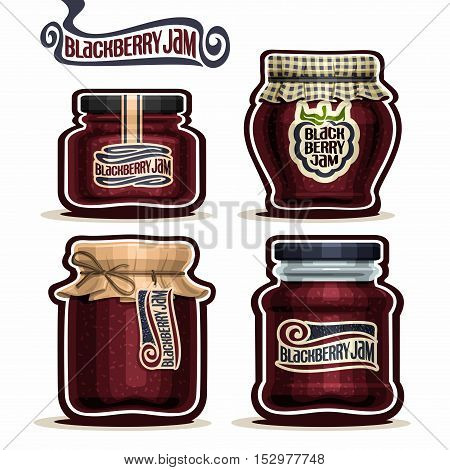 Vector logo Blackberry Jam in glass Jars with paper lid cover, black berry Pot home made blackberry jams, rope bow, homemade fruit jam jar, jelly pot with label, checkered cloth cap, isolated on white