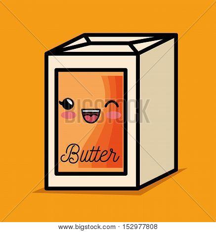 butter kawaii breakfast cooking vector illustration eps 10