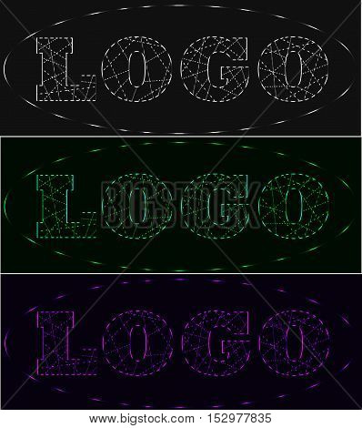 Laser beams neon logo set shades of grey green violet
