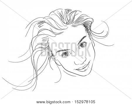 Portrait of beautiful young girl, Vector sketch Hand drawn illustration