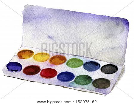 watercolor sketch of paints on white background