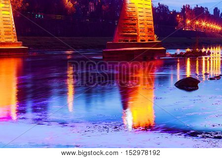 Bridge Night City Reflected In Water Uzhorod