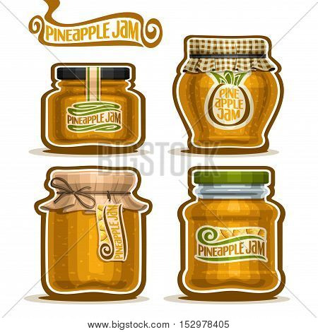 Vector logo Pineapple Jam in glass Jars with paper cover lid, Pot home made pineapple jams, twine rope bow, set homemade fruit jam jar, farm jelly pot with label, checkered cloth cap isolated on white