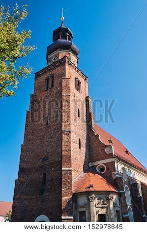 Church tower in the Gothic style in Leszno