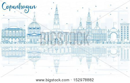 Outline Copenhagen Skyline with Blue Landmarks and Reflections. Business Travel and Tourism Concept with Historic Architecture. Image for Presentation Banner Placard and Web Site.