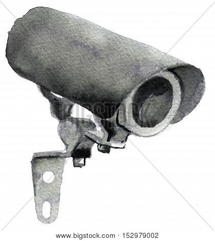 watercolor sketch of Surveillance Camera on a white background