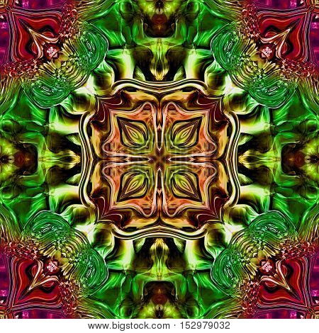 Computer generated illustration with multicolour (green, gold, red) abstract kaleidoscope pattern.