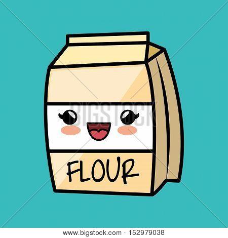 cartoon flour cokking kitchen icon vector illustration eps 10