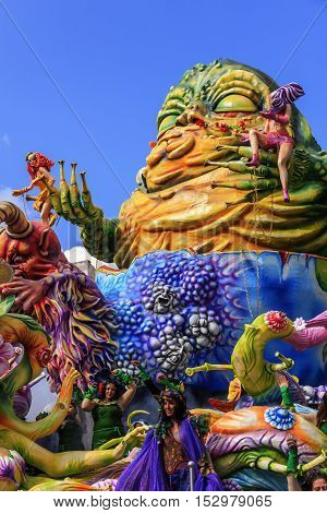 Putignano,Apulia,Italy - February 15, 2015: carnival floats, monster of papier mache.Carnival of Putignano: allegorical float of deadly sins. ITALY(Apulia)