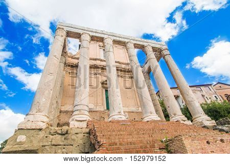 Monumental columns of Temple of Antoninus and Faustina, adopted to church of San Lorenzo in Miranda, Forum Romanom (Roman Forum), Rome, Italy