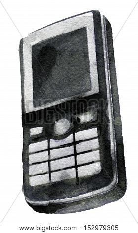 watercolor sketch of mobile phone on a white background