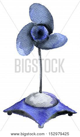 watercolor sketch of blue fan on white background