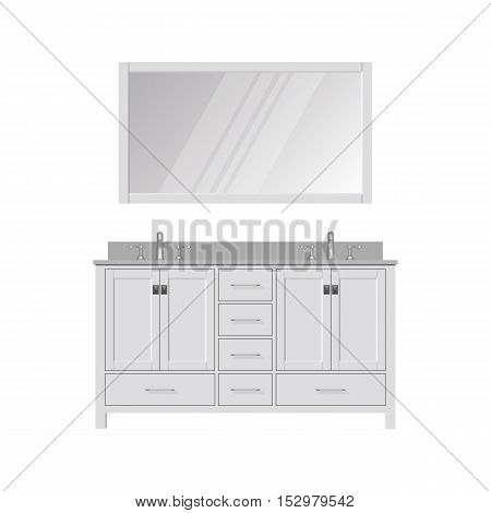 Style Bathroom Vanity and Mirror. Dressing Table. Realistic vector illustration.