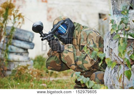 paintball player with marker