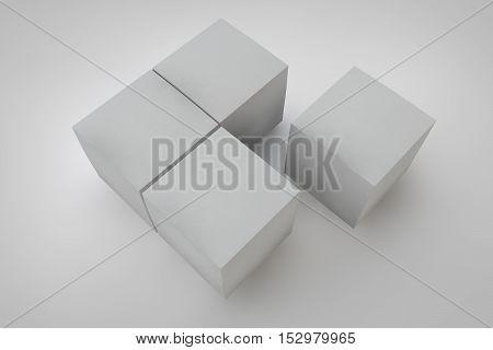 Mock Up Cardboard Box On White Background.