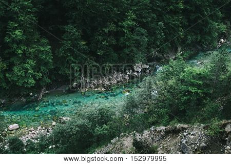 River Canyon At Summertime, Nature Landscape. Montenegro