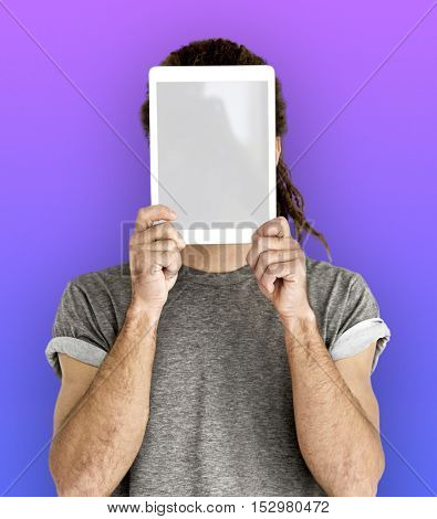 Man Digital Tablet Face Covered Copy Space Technology Concept